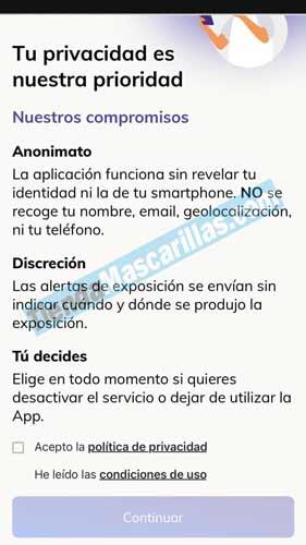 Privacidad de la app RADAR COVID